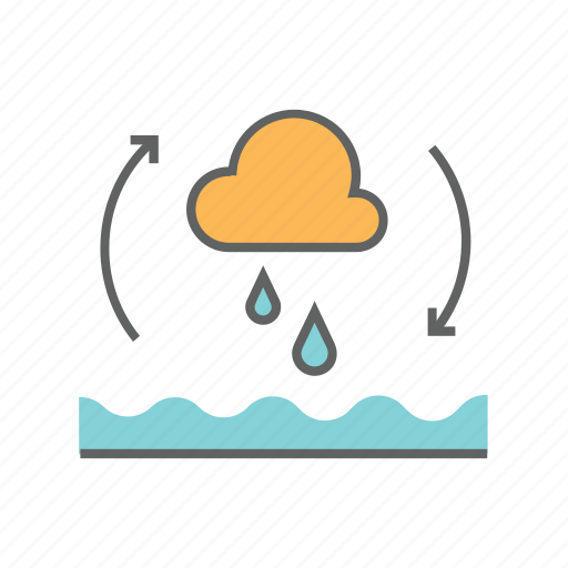 cycle, environment, evaporation, nature, rain, river, water icon