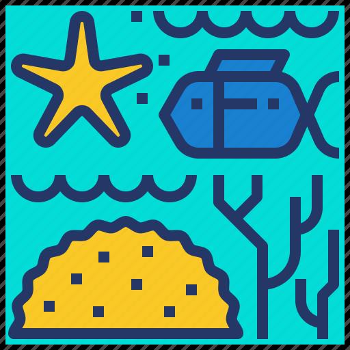 biodiversity, coral, fish, marine, reef icon