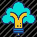 bulb, eco, green, light, power, tree icon