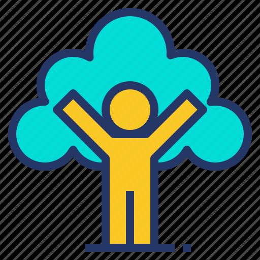 eco, environment, human, nature, tree icon