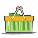 bio products, groceries, shopping cart, eco icon