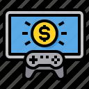 gamepad, gaming, money, monitor, winner icon