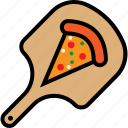 board, cooking, delicious, food, peel, piece, pizza icon