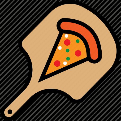 board, cooking, delicious, food, peel, piece, pizza icon