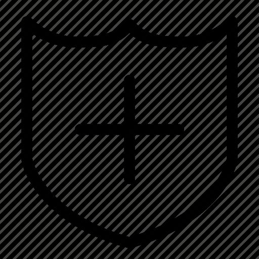 aid, first, medecine, shield icon