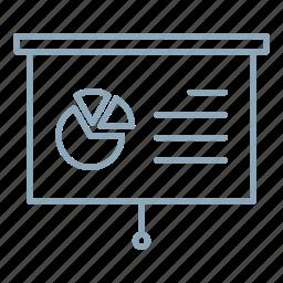 chart, graph, pie chart, presentation, screen icon