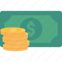 bill, cash, coins, dollar, money, pay icon