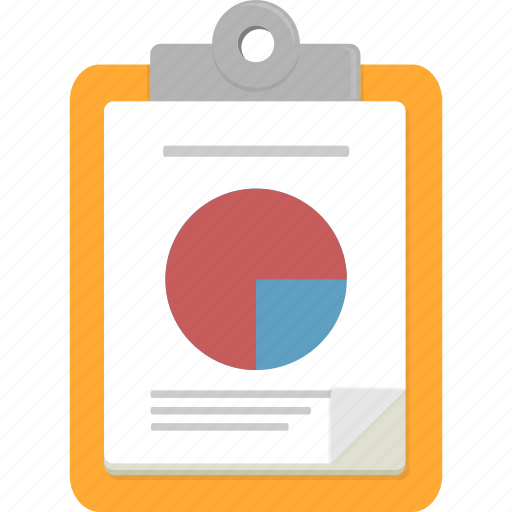 clipboard, document, pie chart icon