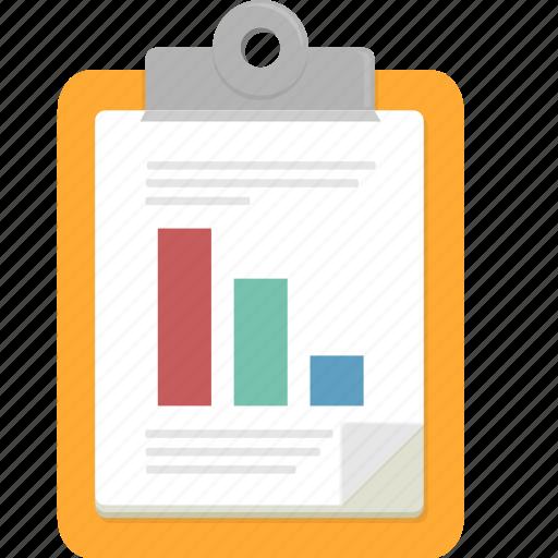 bar graph, clipboard, document, graph icon