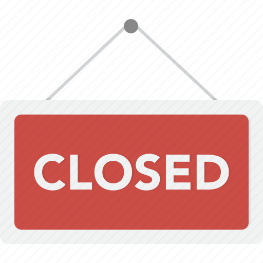 closed, ecommerce, shop, sign, store icon