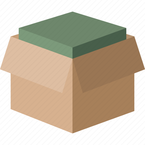 box, delivery, filled, moving, open, package icon