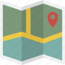 explore, folded, location, map icon