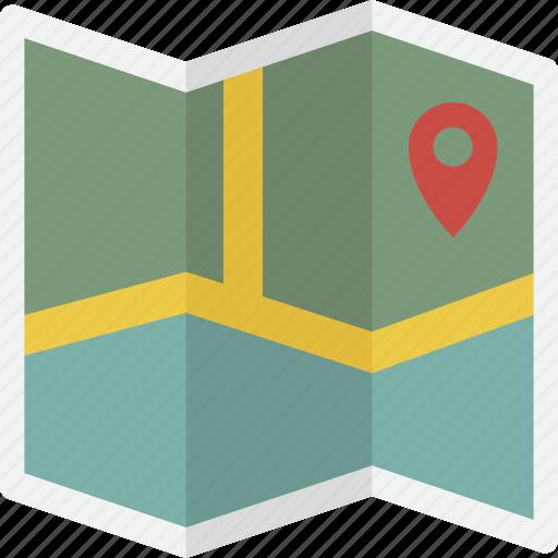 explore, folded, location, map icon