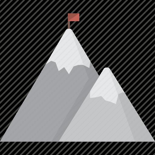 flag, mountain, mountains, peak icon