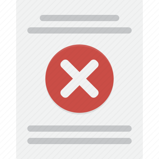 denial, denied, document, letter, no, rejection icon