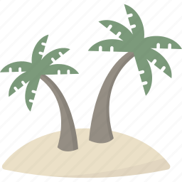 island, palm, tree, tropical icon
