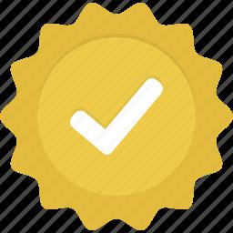 badge, check, gold, verified, yellow icon