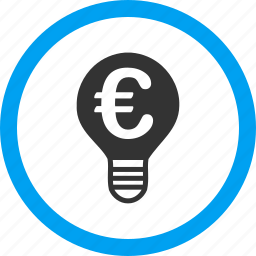 electric power, electricity, energy, euro, light bulb, science, tip of the day icon