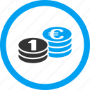 cash, coin column, coins, columns, currency, euro, stack icon