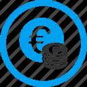 bank, cash, coins, euro coin, finance, money, stack