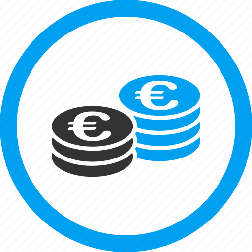 bank, cash, coins, euro coin, finance, money, stacks icon