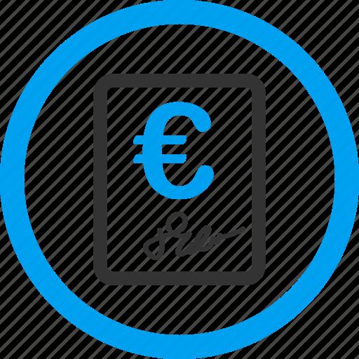 agreement, check, cheque, euro contract, invoice, price list, report icon