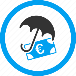 euro, finance, financial protection, guard, money, safety, umbrella icon