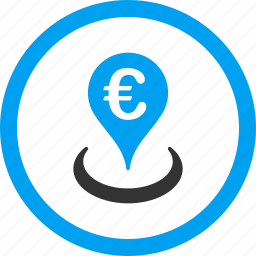 bank placement, banking pin, business, euro location, financial center, map marker, money icon