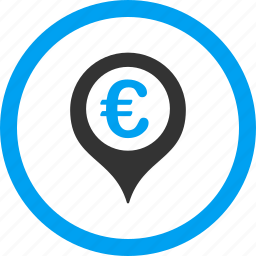 bank pointer, euro currency, location, map marker, navigation, payment, tag icon