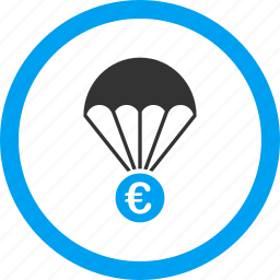 euro, fall, finance, financial insurance, money, parachute, safety icon
