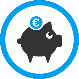 account, banking, euro finance, pig, piggy bank, savings, treasure icon