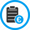 certificate, commerce, contract, euro, finance, prices, purchase order icon