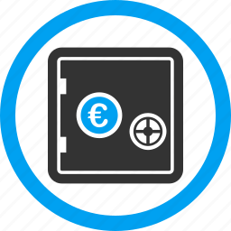 bank safe, euro, finance, safety, security, shield, strong box icon