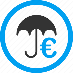 euro umbrella, finance, financial protection, guard, money, safety, storage building icon