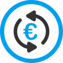 euro, money, refresh balance, repeat, rotation arrows, sync, update icon