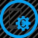 business, configure, euro bank, finance, mobile banking, phone, settings icon