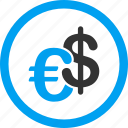 business, currency, dollar, euro, exchange, finance, money icon