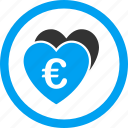 euro, favorite, favorites, hearts, like, love, valentine icon