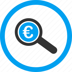analysis, check, euro, explore, financial audit, inspect, search icon