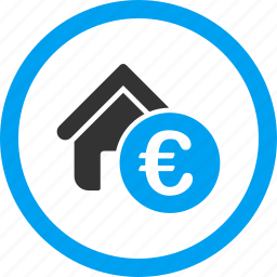 euro, home rent, house sale, loan, mortgage, real estate, realty price icon