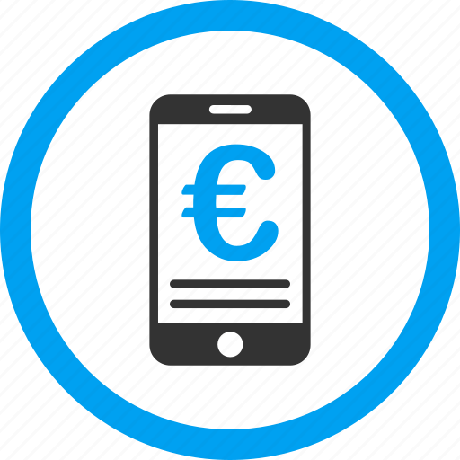 account, balance, euro, mobile bank, pay, payment, telephone icon