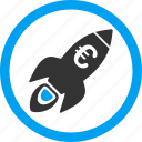 business start, euro science, project, rocket, space ship, startup, technology icon