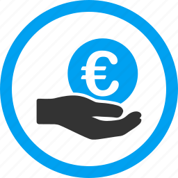donate, euro business, finance, hand, money, payment, salary icon