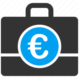 accounting, bag, case, euro, european, finance, money icon