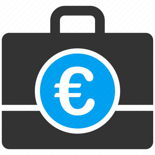 accounting, bag, case, euro, european, finance, money icon