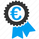 award, certificate, euro, european, medal, seal, success icon