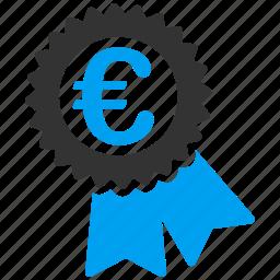 award, certificate, euro, european, medal, seal, success icon