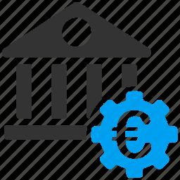 bank, building, euro, european, financial center, museum, technical museum icon