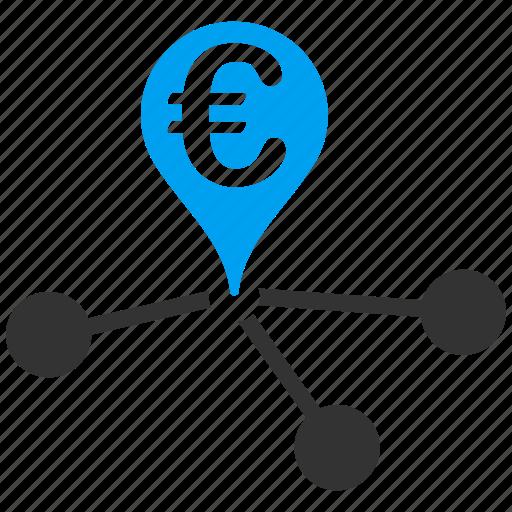 bank, euro, european, geo targeting, location, navigation, positioning icon