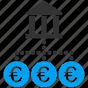 bank, links, network, transactions, euro, european, tax icon
